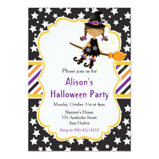 Cute African American Witch Halloween Party Card