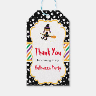 Cute African American Witch Halloween Party Gift Tags