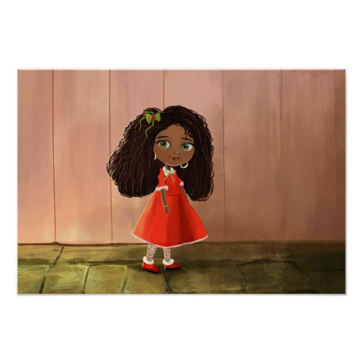 cute African cartoon girl Poster