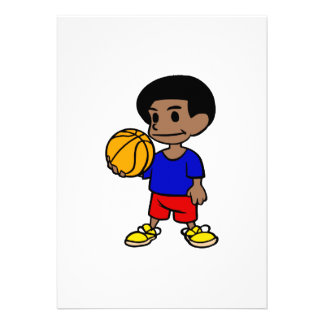 Cute afro boy basketball invites