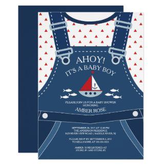 Cute Ahoy Boy Nautical Baby Shower Invitation