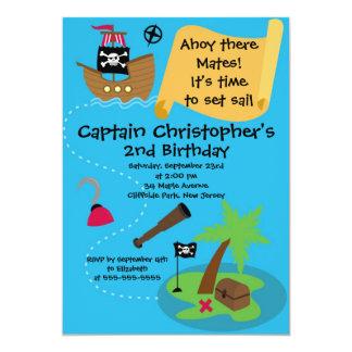 Cute Ahoy Mates Pirate Birthday Party Invitations