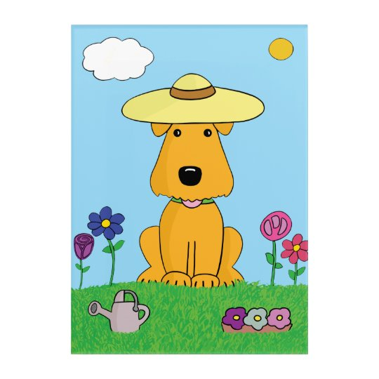 Cute Airedale Dog in Garden Acrylic Wall Art