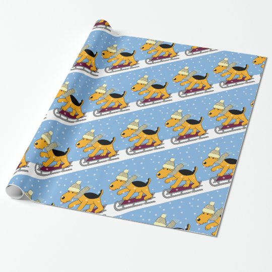 Cute Airedale Terrier Dog w Sled Wrapping Paper