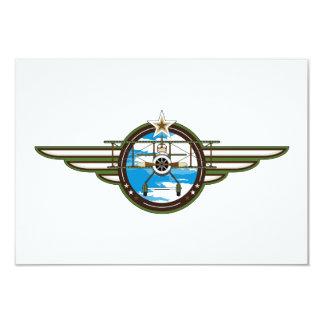 Cute Airforce Pilot and Biplane 9 Cm X 13 Cm Invitation Card