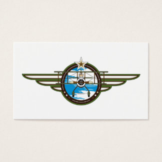 Cute Airforce Pilot and Biplane Business Card