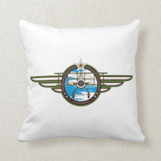 Cute Airforce Pilot and Biplane Cushion