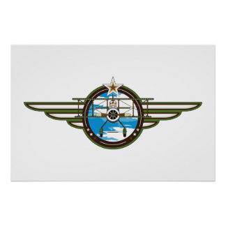Cute Airforce Pilot and Biplane Poster