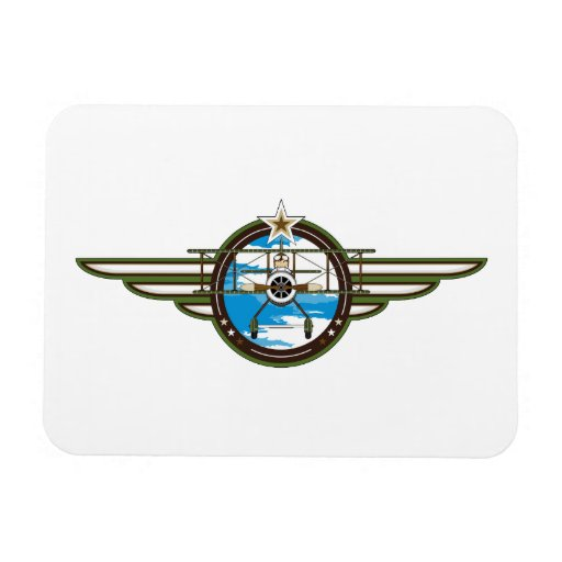 Cute Airforce Pilot and Biplane Rectangle Magnets