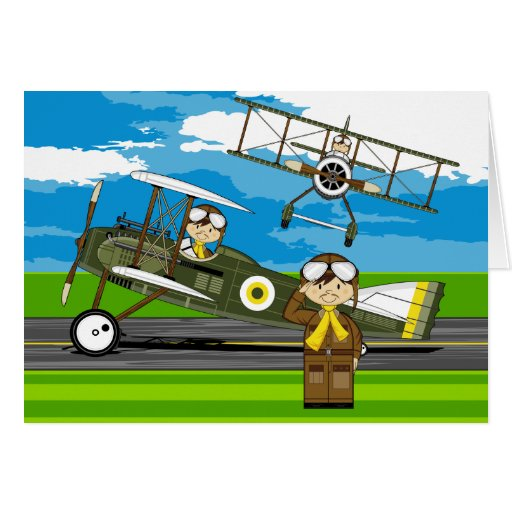 Cute Airforce Pilots and Biplanes Greeting Cards