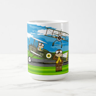 Cute Airforce Pilots and Biplanes Coffee Mug