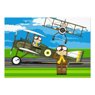 Cute Airforce Pilots and Biplanes Announcement