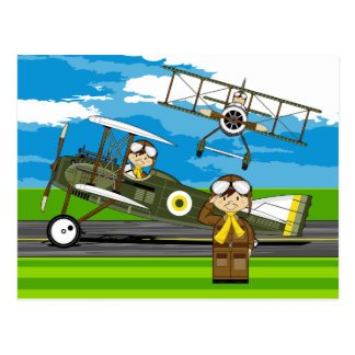 Cute Airforce Pilots and Biplanes Post Card