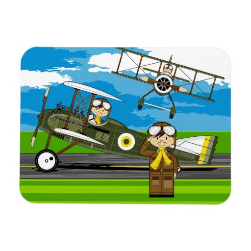 Cute Airforce Pilots and Biplanes Rectangle Magnet