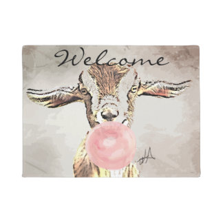 Cute Airplane Ears Goat with Bubblegum Welcome Mat