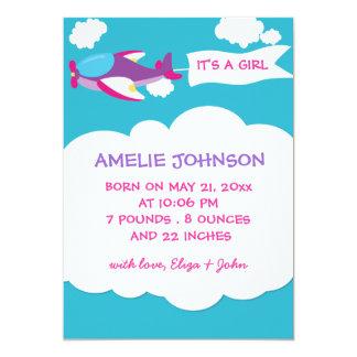 Cute Airplane Girl Baby Birth Announcement Card