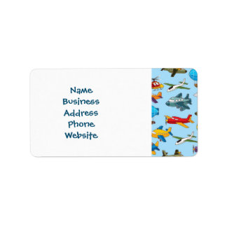 Cute Airplanes Helicopters Airships  Pattern Address Label