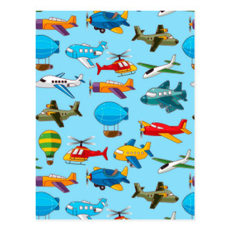 Cute Airplanes Helicopters Airships  Pattern Postcard