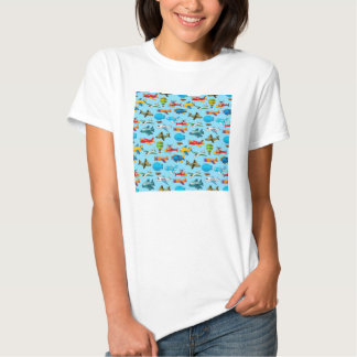 Cute Airplanes Helicopters Airships  Pattern Shirt
