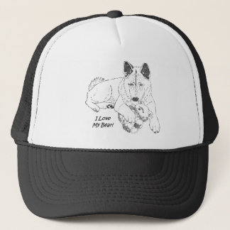 Cute akita and teddy bear dog art trucker hat