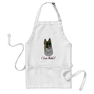 cute akita dog picture realist animal art apron