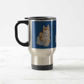 cute akita dog with teddy portrait realist art stainless steel travel mug