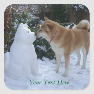 cute akita kissing snowman akita photo christmas square sticker