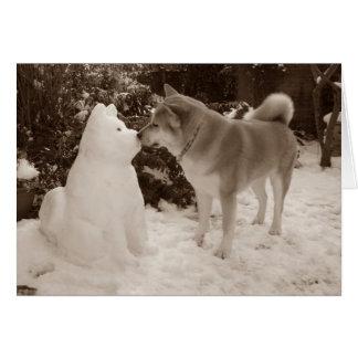 cute akita kissing snowman akita photograph card
