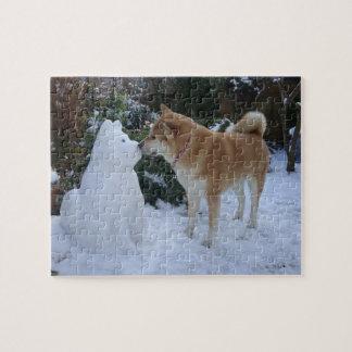 cute akita kissing snowman akita photograph puzzles