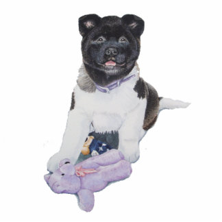 Cute akita puppy dog and teddy sculpture magnet photo sculpture