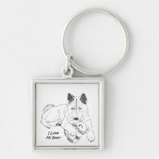 Cute akita with teddy bear dog art keychain