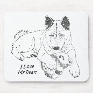Cute akita with teddy bear dog art mouse pad
