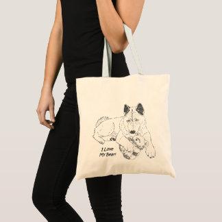 Cute akita with teddy bear dog ink drawing art tote bag