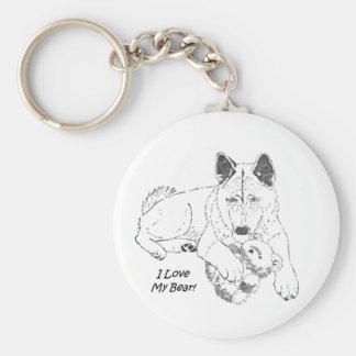 Cute akita with teddy bear dog prtrait art basic round button key ring
