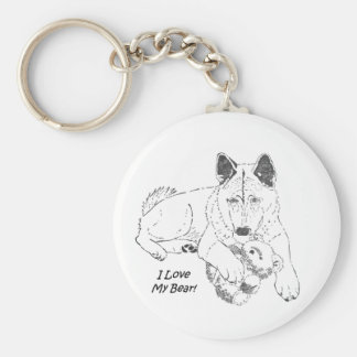 Cute akita with teddy bear dog prtrait art key ring