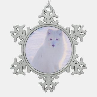 Cute Alaska Arctic Winter Fox Photo Designed Pewter Snowflake Decoration