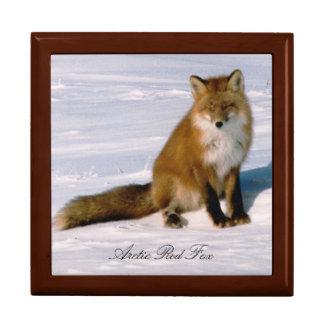 Cute Alaska Red Fox 7x6 Decorative Oak Box Large Square Gift Box