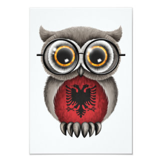 Cute Albanian Flag Owl Wearing Glasses 9 Cm X 13 Cm Invitation Card