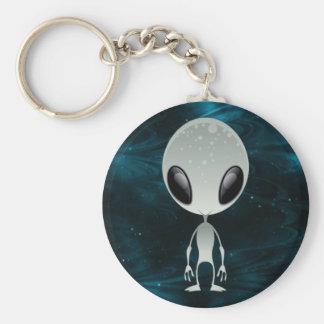 Cute Alien Basic Round Button Key Ring