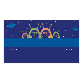 cute alien family spacemen planets personal callin business card templates