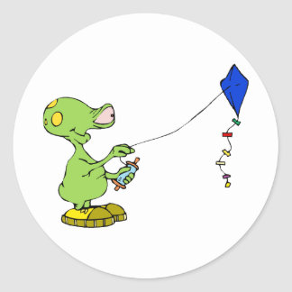 Cute Alien Flying Kite Classic Round Sticker