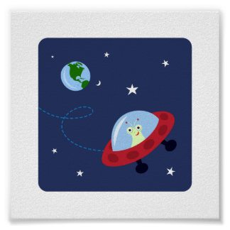 Cute alien i space and planet earth kids wall art poster