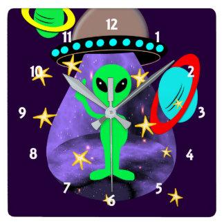 Cute Alien In Outer Space fun Kids Square Wall Clock