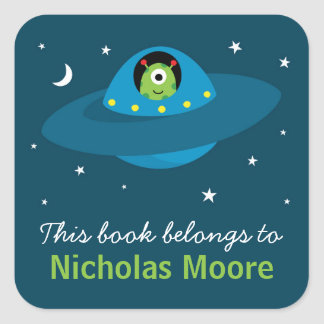 Cute alien in space personalized bookplate book square sticker