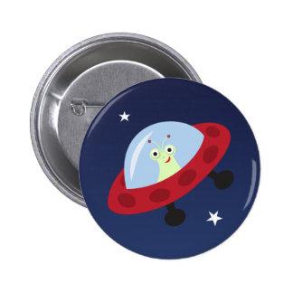 Cute alien in spaceship cartoon pinback button