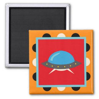 Cute Alien UFO Space Ship Unique Kids Gifts Square Magnet