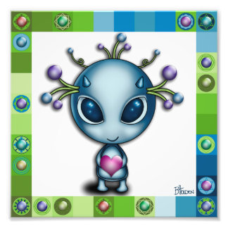 Cute Alien with Heart Photographic Print