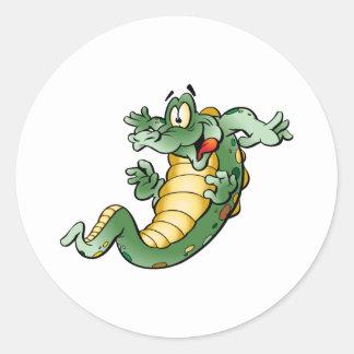 Cute Alligator Cartoon Classic Round Sticker