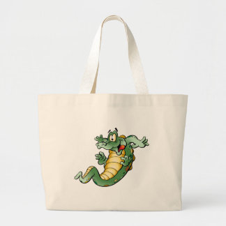 Cute Alligator Cartoon Large Tote Bag
