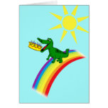 Cute Alligator Eats Cake Birthday Greeting Cards